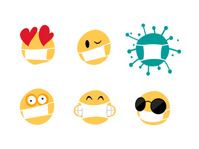Mind Control Device social distancing face mask coronavirus virus covid19 mask telegram smiley emoji sticker vector