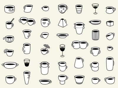 42 Coffee Cups 42 coffee cups vector bw illustration pattern