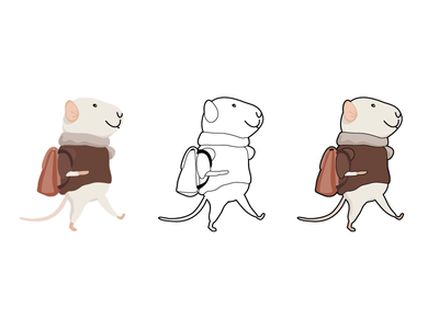 Little Mouse Dribbble stroke walking travel character vector mice mouse