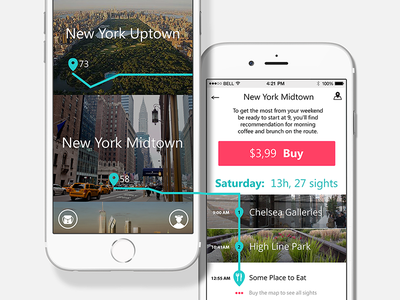 Step-by-Step Navigation mobile new york navigation step-by-step travel app travel mouse iphone ux ui