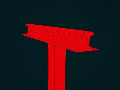 Letter T letter red lettermark lettering railway typo typography art illustration design