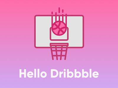 Hello Dribbble! swish hoop backboard ball basket basketball dribble dribbble hello
