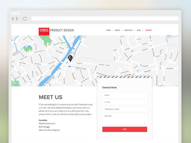 Cides product design contact page contact flat wide website ui simple map form clean