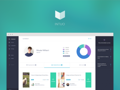 Intuo dashboard web app flat simple learning graph cards navigation courses