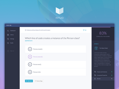 Intuo quizes learn web design quiz question anwers navigation table of contents badges progress