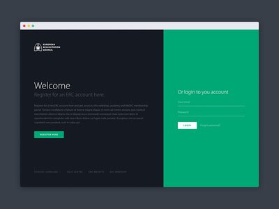 MyERC Login page flat sign up sign in authentication forms two colors split register login