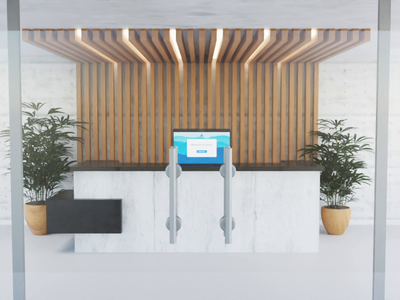 Virtual Receptionist Feature meeting conference wood gif video hardware technology plants interior vfx doors lobby computer zoom glass office animation 3d animation blender 3d