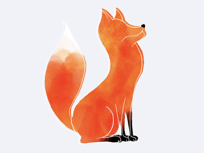 Digital watercolour fox