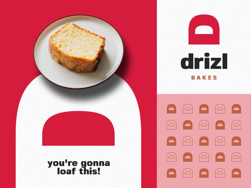 drizl bakes d typography identity branding loaf bakery cake minimal logo