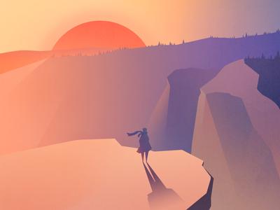 Illustration - sunset sky sunset sun moutain man ps illustration