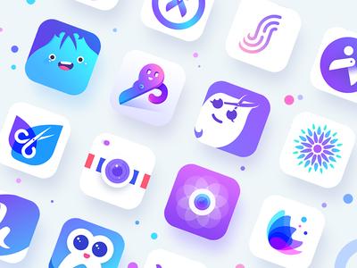 App icon h emoji scissors hair barber camera logo ps gui ui app icon