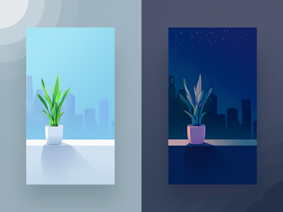 Potted plant sun light illustration flower building city star sky night day plant potted