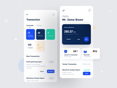 Transaction(ETH) App search message tool transaction green darkblue white blue button card icon app ui