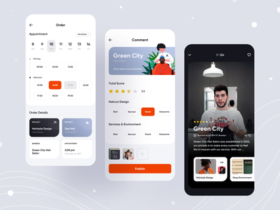 Hairstyle App white appointment comment salon hair barber card design orange icon app ui illustration
