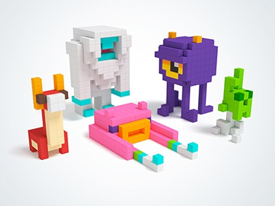 PIXIO Monsters blocks pixel character dragon yeti alien monster voxelart pixelart pixio