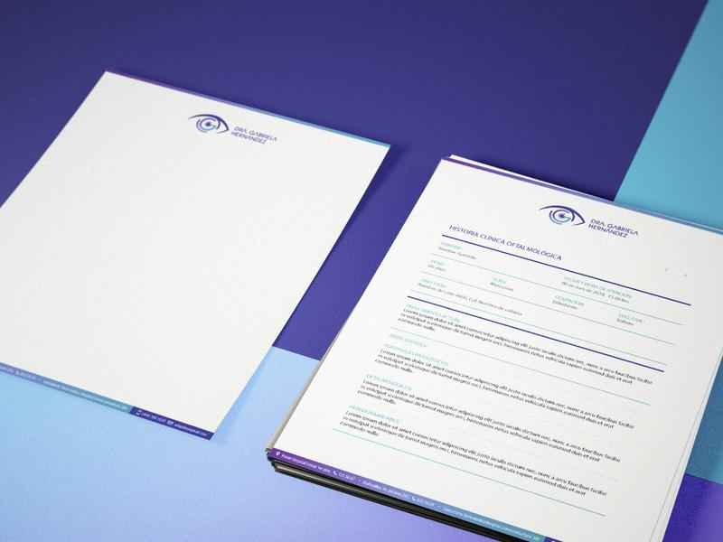 DRA. GABRIELA HDZ, Oftalmología prescription logo desing paper minimal medicine medic flat branding corporate identity