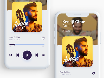 Music player app music app design round mobile ux ui shadow white clean design music app iphone ios application app