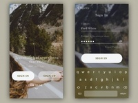 SignIn screen ui up sign minimal in log login keyboard ios app