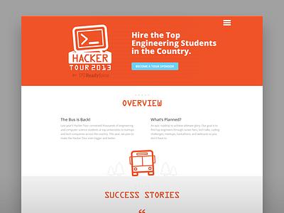 Hacker Tour flat web page website responsive design hacker tour bus glyph site web page