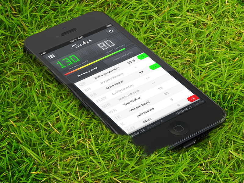 Fantasy Football Fever ios fantasy app iphone iphone5 design ui ux ticker score user experience