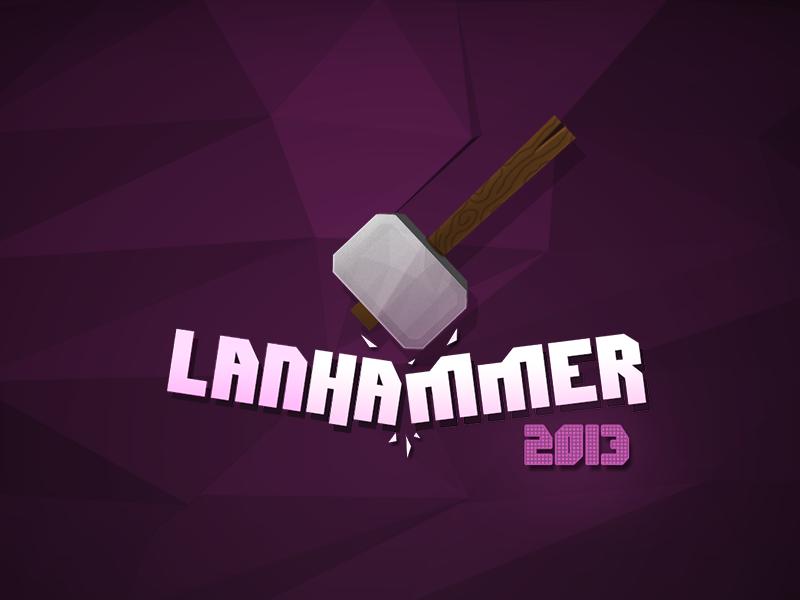 Event Logo event lan hammer logo smash purple