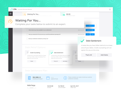 CRN | User Dashboard Preview simple clean status savings account profile debt application app web web app dashboard