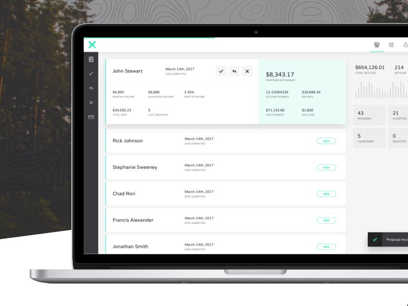 CRN | Creditor Dashboard navigation website graph data finance application web app dashboard