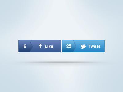 Social Buttons ui facebook button tweet button web button social tweet buttons user interface facebook like twitter button like button ux twitter