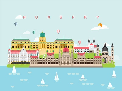 Hungary Famous Landmarks Infographic Templates