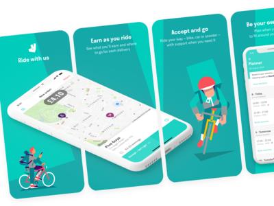 Deliveroo Rider App Screenshots