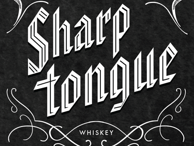 Sharp Tongue 1920s prohibition whiskey liquor bottle 1930s vintage blackletter