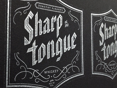 Dorothy Parker's Sharp Tongue screenprint label whiskey liquor packaging silver