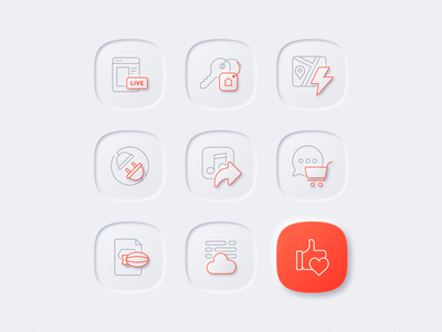 Neumorphic icons shadow lighting skeuomorphic red cart flash key like zeplin cloud gogoapps neumorphic neumorphism icons