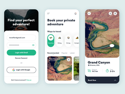 Travel App interactions mobile interface minimal ui ux ios nature booking kayaking mountains guide hiking app travel interactions animations gogoapps