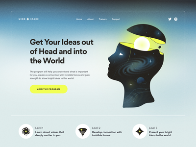 Mindfulness Courses Landing Page psychedelia abstract gradient landing page mind planets stars idea bright head universe space surrealism program mindfulness illustration gogoapps
