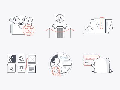 GogoApps Illustrations set framework test gomock user-centered design launch tech research ux set gopher golang illustrations gogoapps