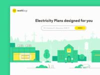 Wattbuy - website rebranding gogoapps solar panel windmills one floor houses ui illustration houses eletricity