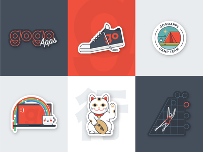 GogoApps stickers gogoapps neon warsaw lucky cat camp sneakers design go impression logo branding illustration stickers