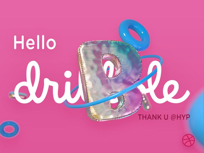Hello Dribbble !! balloon pink first shot 3d art
