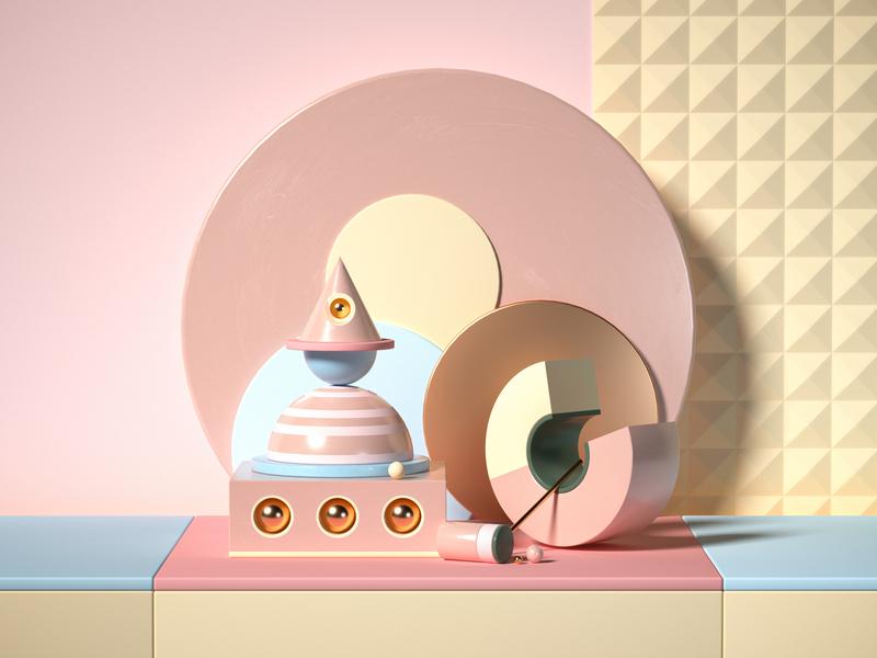 Circle 3d art pink octane cinema 4d