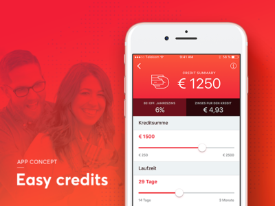 Easy credits - App concept ux ui people iphone mobile sketch netguru money credits app ios