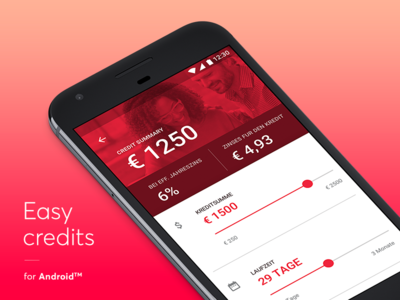 Easy credits - Android version ux ui sketch people netguru money mobile material android credits app