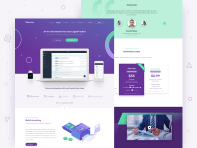 Case.one - Landing Page landing page icons dashboard ui services payment desktop redesign law home website illustration