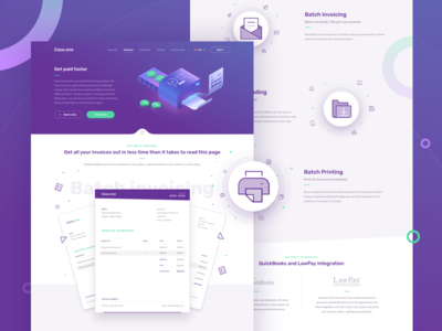 Case.one - Billing and Invoicing illustration website home law redesign desktop payment services ui dashboard icons landing page