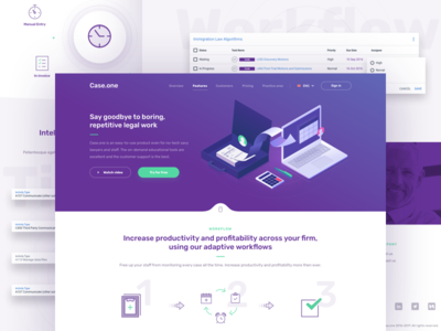 Case.one - Workflow & automation landing page icons dashboard ui services payment desktop redesign law home website illustration