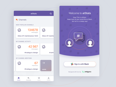 atStats - Interact with friends on Slack in a new way slack friends social ui ios android material netguru mobile sharing app relationship