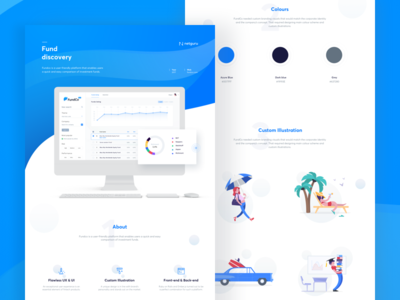 FundCo - Fund discovery landing page product design web design blue case study fund clean landing design web illustration ux ui