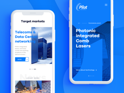Pilot Photonics - Mobile product design web design landing webdesign landing page laser technology typography redesign mobile rwd