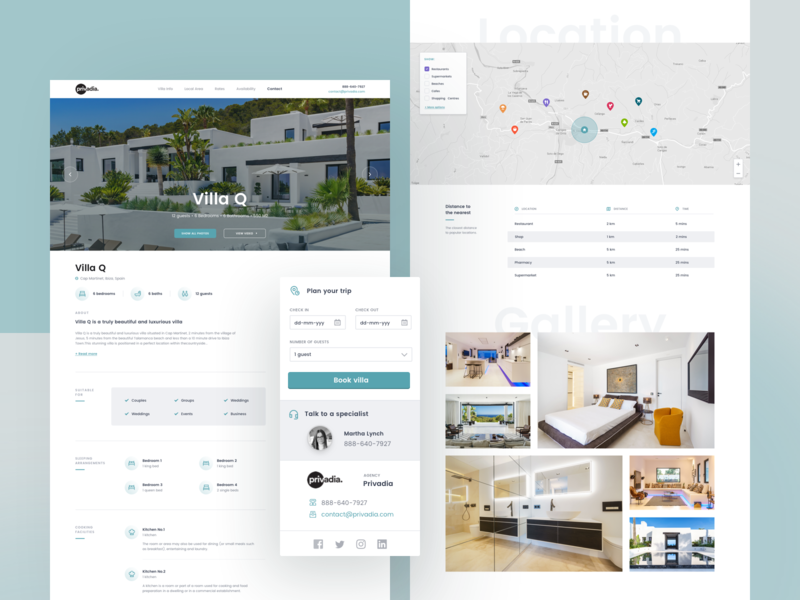 Privadia - Luxury rental villas landing product design web design photos illustration logo icon typography design redesign landing page netguru ui