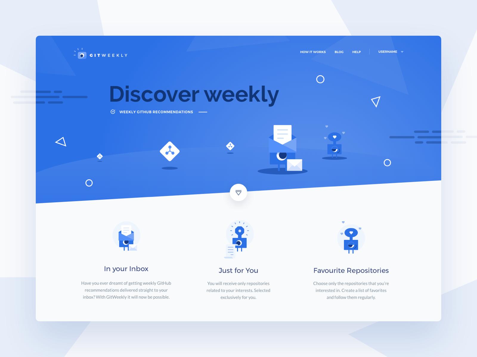 GitWeekly - Weekly GitHub recommendations webdesign blue vector icon typography design illustration landing page netguru ui
